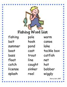 Fishing Word List Worksheet