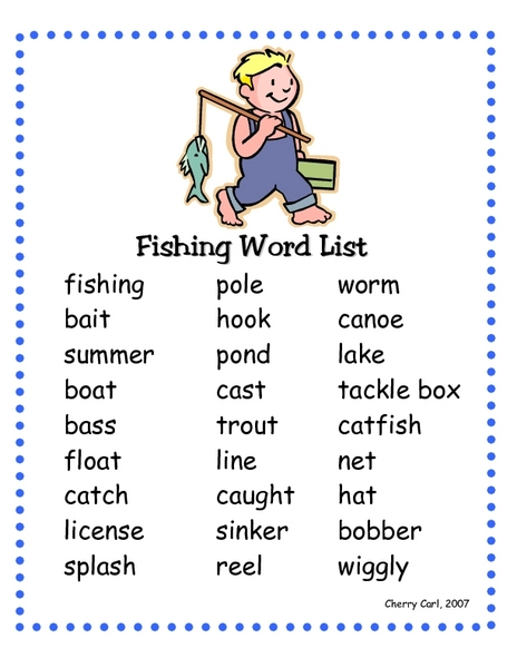 Fishing Word List 2nd - 3rd Grade Worksheet | Lesson Planet