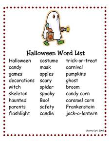 Halloween Word List Worksheet