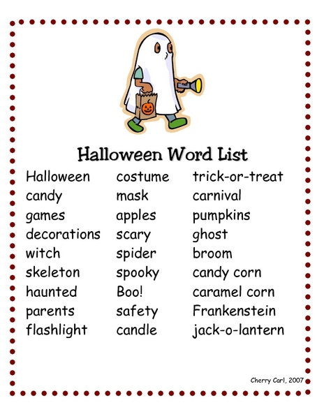 halloween word list worksheet for 2nd