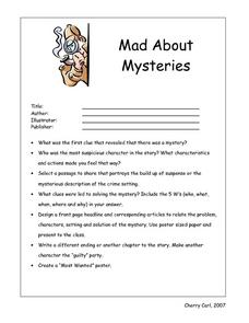 Mad About Mysteries Book Report Worksheet