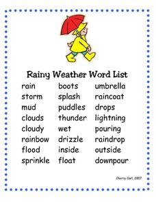 Rainy Weather Word List Worksheet