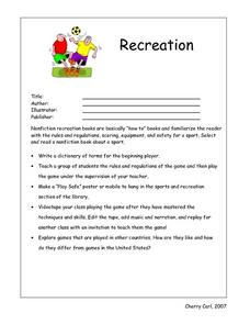 Recreation Book- Book Report Worksheet