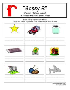 """Bossy R"" Words Worksheet Lesson Plan"