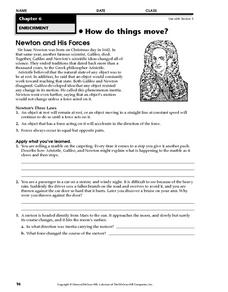 Newton and His Forces Worksheet