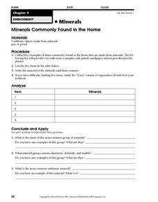 Minerals Commonly Found in the Home Worksheet