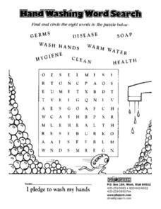 Hand Washing Word Search Worksheet