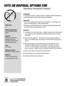 Vote on Disposal Options for Hazardous Household Products Worksheet
