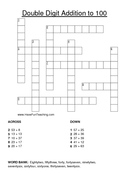 Double Digit Addition to 100: Crossword Puzzle Worksheet