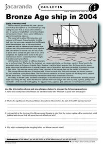 Bronze Age Ship in 2004 Worksheet