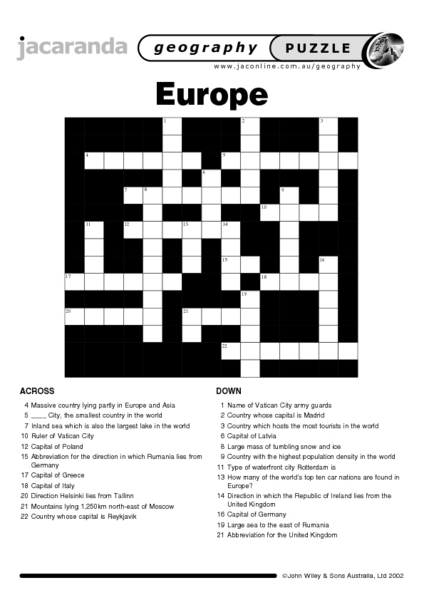 Europe Puzzle Worksheet for 6th - 9th Grade   Lesson Planet