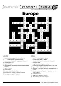Europe Crossword Worksheet
