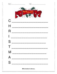 Christmas Acrostic Worksheet