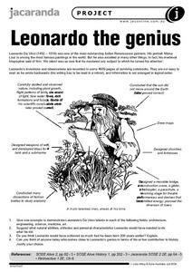 Leonardo the Genius Worksheet