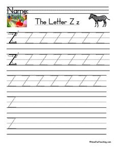 The Letter Zz--Printing Practice Worksheet