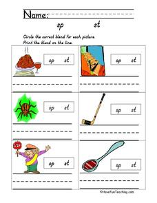Blends: sp and st Worksheet