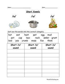 Short Vowels Sorting Lesson Plan