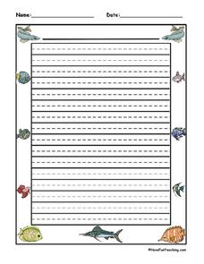 Marine Life Writing Paper Lesson Plan