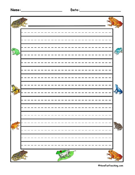 frog and toad writing paper