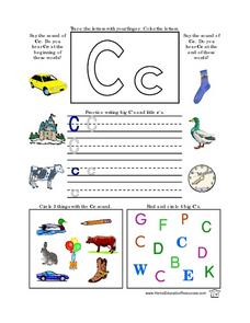 The Letter C- Sound and Printing Practice Lesson Plan