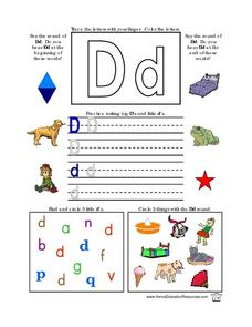 Printing Practice-- the Letter Dd Lesson Plan