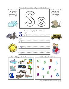 Printing Practice-- Upper And Lower Case Letter S Lesson Plan