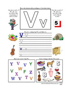 Printing Practice-- The Letter Vv Lesson Plan