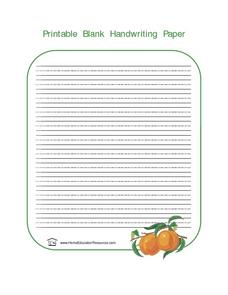 Handwriting Paper With Fruit Graphic Lesson Plan