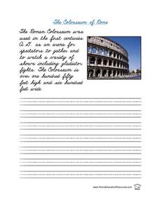 The Colosseum of Rome-- Cursive Practice Lesson Plan