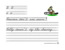 Cursive Writing Practice- B and d Lesson Plan