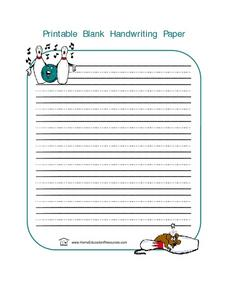Printable Handwriting Paper--  Bowling Lesson Plan