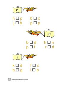 Short Vowel Word Building: O E I Lesson Plan