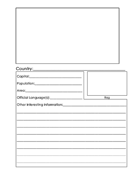country report template worksheet for 4th