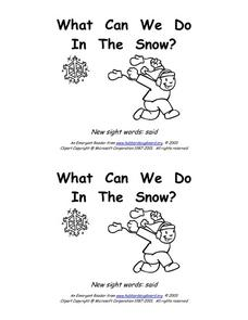 What Can We Do in the Snow? Worksheet