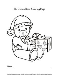 Christmas Bear Coloring Page Worksheet