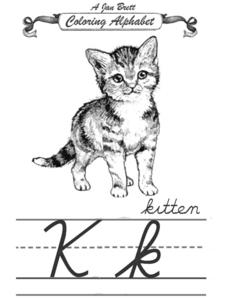 A Jan Brett Coloring Alphabet-- The Letter Kk Worksheet