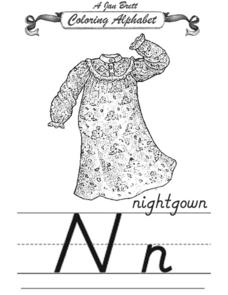 A Jan Brett Coloring Alphabet--The Letter Nn Worksheet