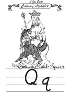 A Jan Brett Coloring Alphabet-- The Letter Qq Worksheet