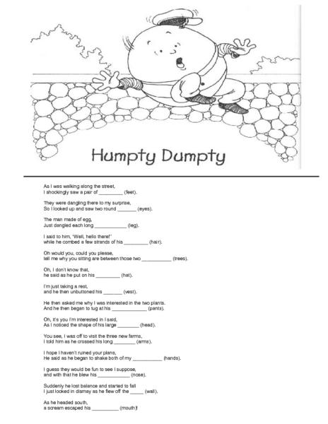Humpty Dumpty-- Rhyming Words Worksheet for Kindergarten