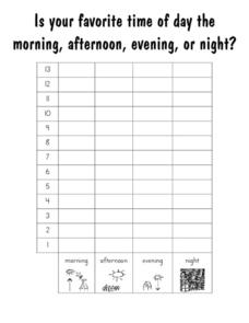 Is Your Favorite Time of the Day the Morning, Afternoon, Evening or Night? Bar Graph Recording Sheet Worksheet