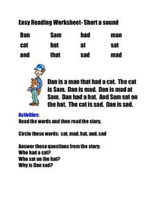 Easy Reading Worksheet- Short a Sound Worksheet
