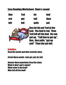 Easy Reading Worksheet- Short e Sound Worksheet Worksheet