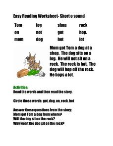 Easy Reading Worksheet-  Short O Sound Worksheet