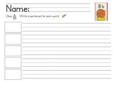 Bb Words Sentence Writing Worksheet