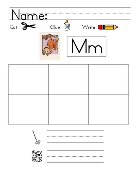 letter mm cut and paste worksheet for kindergarten 1st grade lesson planet. Black Bedroom Furniture Sets. Home Design Ideas