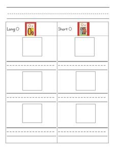 Short and Long O Cut and Print Worksheet Worksheet