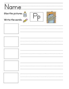 Kelly's Kindergarten: P Words Sentences Worksheet