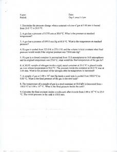 Gay-Lussac's Law Worksheet for 11th - 12th Grade | Lesson ...