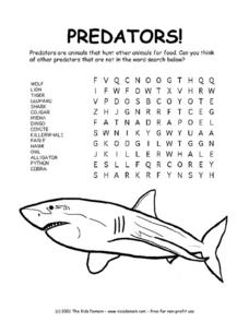 Predators! Word Search Worksheet Worksheet