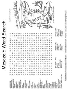 Mesozoic Word Search-- Difficult Worksheet